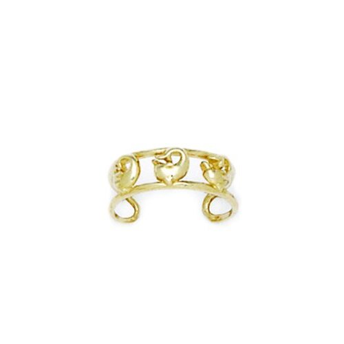 14k Yellow Gold Double Row With Dolphin Adjustable Toe Ring
