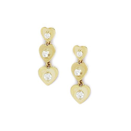 3 Heart Cubic Zirconia Drop Earrings