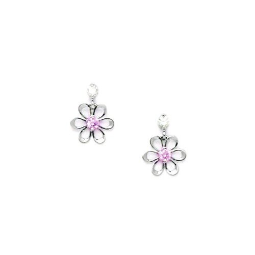 Small Flower Cubic Zirconia Drop Earrings