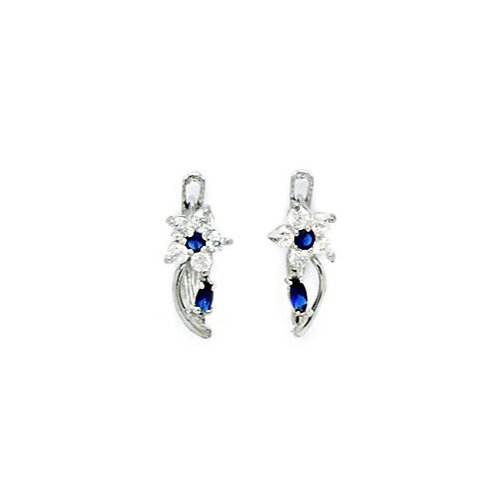 Flower and Leaf Sapphire Leverback Earrings