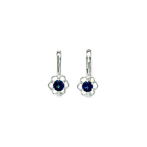 Flower Sapphire Leverback Earrings
