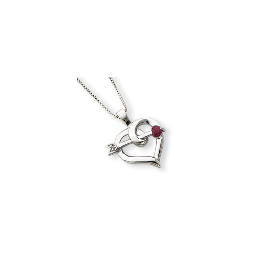 Sterling Silver Heart Ruby Arrow Necklace