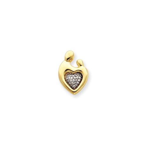 14 Gold Heart Diamond Mother and Child Pendant
