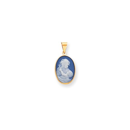 14k Yellow Gold Porcelain Mother and Baby Cameo Pendant
