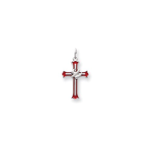 Enameled Cross with Dove Charm