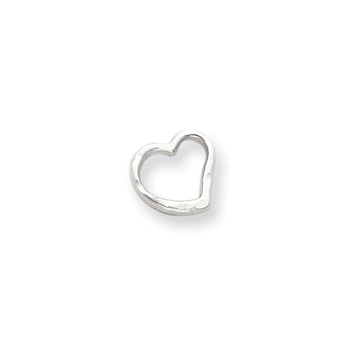 14k White Gold D-Cut Heart Pendant Child Chain