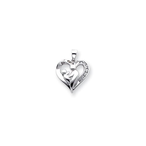 14k White Gold Heart Rough Diamond Mother and Baby Pendant