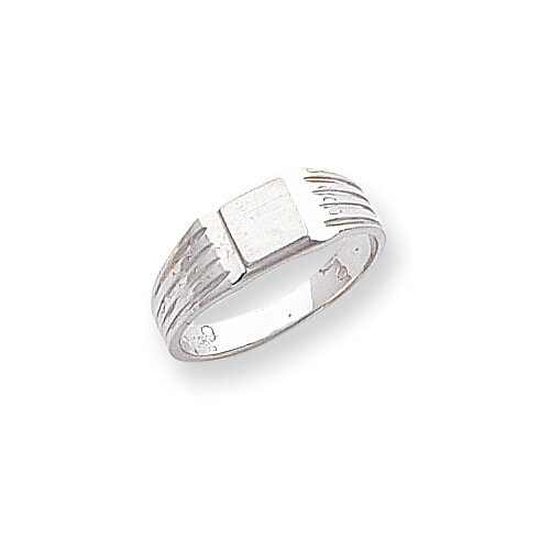 14k White Gold Child's Signet Ring