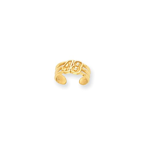 14k Yellow Gold Nascar Jimmie Johnson Number 48 Toe Ring