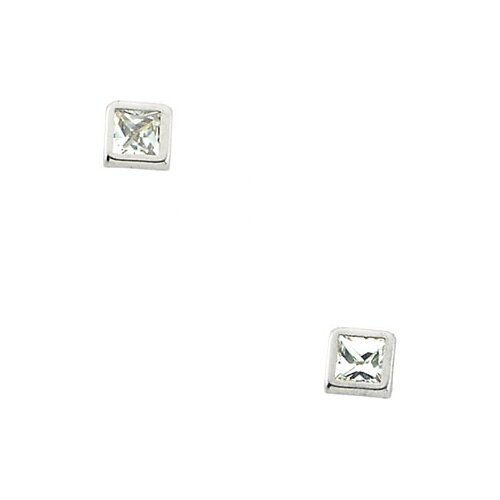 Square Cut Cubic Zirconia Stud Earrings