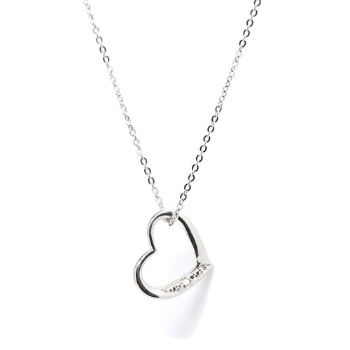 Jewelryweb Sterling Silver Heart With Diamond Necklace - Spring Ring
