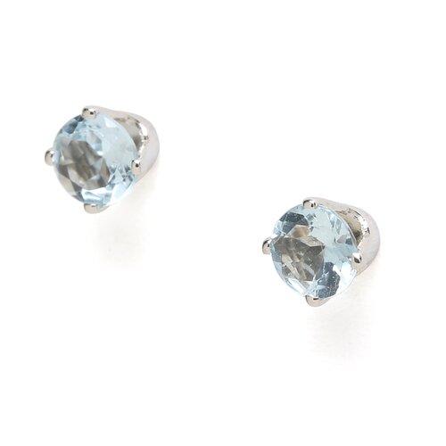 Jewelryweb 14k White Gold 4mm Aquamarine Stud Earrings