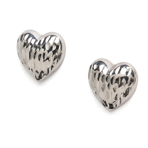 Jewelryweb 14k White Gold Diamond-Cut Heart Earrings