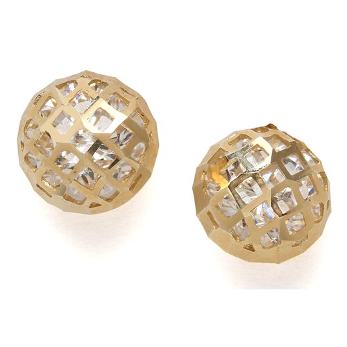 14k Yellow Gold CZ Large Crystal Ball Screwback Earrings