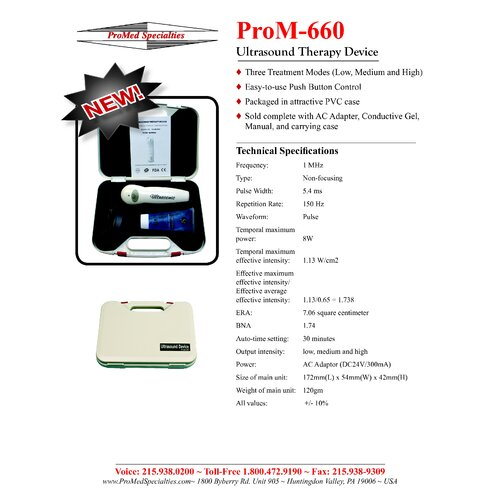 ProMed Specialties Ultrasound Unit 1Mhz Kit