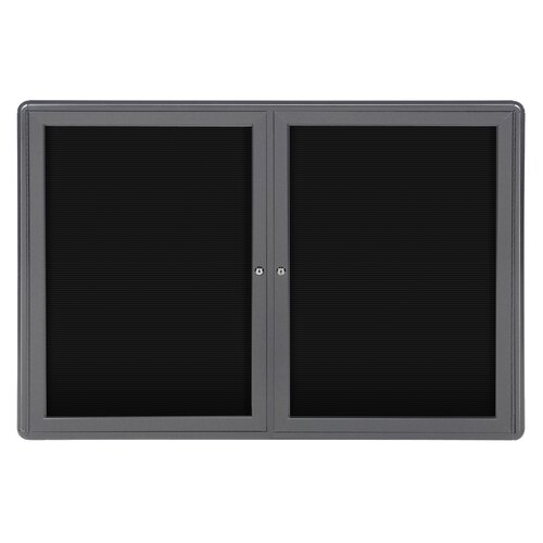 "Ghent 34"" x 47"" 2-Door Ovation Letterboard Black - Gray Frame"