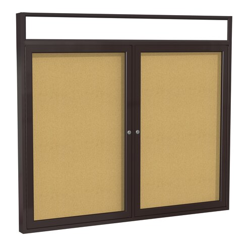 Ghent 2-Door Aluminum Frame Enclosed Bulletin Board with Headliner - Natural Cork