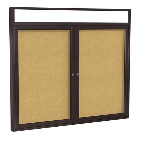 Ghent 2-Door Aluminum Frame Enclosed Bulletin Board with Headliner - Natural Cork