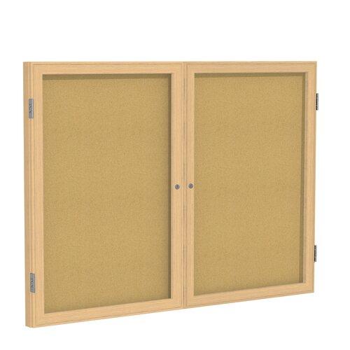 Ghent 2-Door Enclosed Natural Cork Tackboard