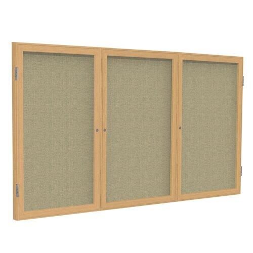 Ghent 3-Door Aluminum Frame Enclosed Fabric Tackboard