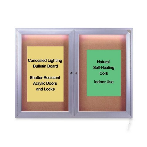 Ghent Bulletin Board,w/Concealed Light,Cork Surface,2-Door,4'x3'