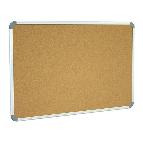 Ghent Aluminum Radial Edge Euro-Frame Natural Cork Bulletin Board