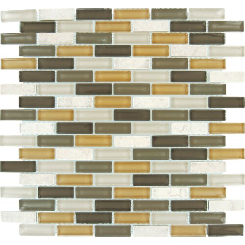 "MS International 2"" x 1"" Tumbled Glass Mosaic in Luxor Valley Blend"