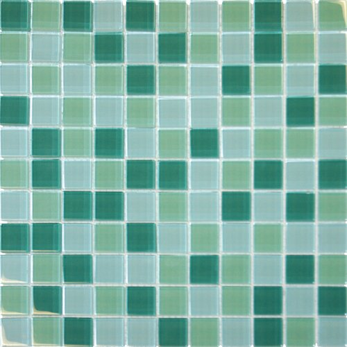 "MS International 1"" x 1"" Crystallized Glass Mosaic in Green Blend"