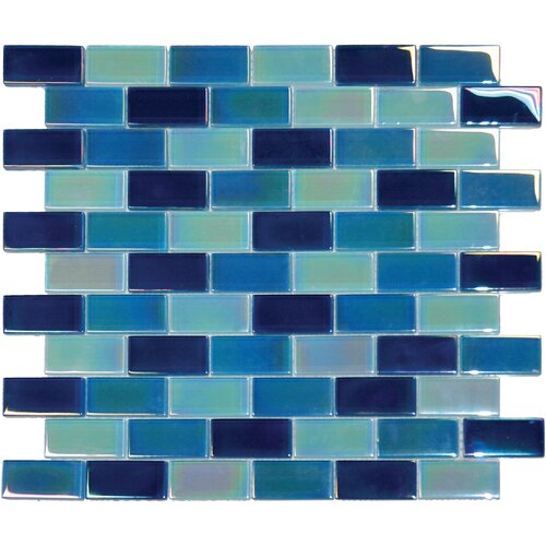 "MS International 2"" x 1"" Crystallized Glass Mosaic in Iridescent Blue Blend"