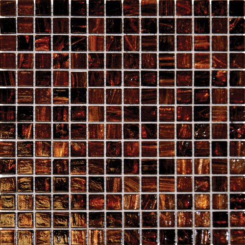 "MS International 3/4"" x 3/4"" Iridescent Glass Mosaic in Brown Iridescent"