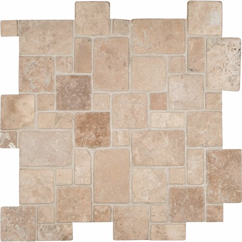 MS International Random Sized Sheet Tumbled Travertine Mosaic in Durango