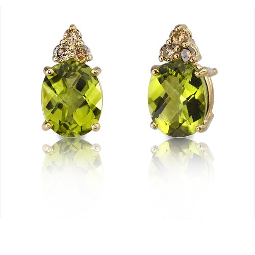 14 Karat Yellow Gold 3.75 carats Oval Checkerboard Cut Peridot Diamond Earrings