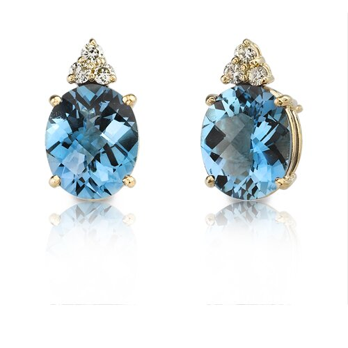 14 Karat Yellow Gold 5.75 carats Oval Checkerboard Cut London Blue Topaz Diamond Earrings