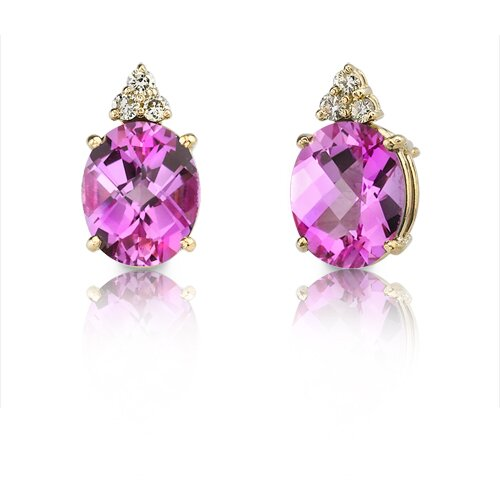 14 Karat Yellow Gold 3.00 carats Oval Checkerboard Cut Pink Sapphire Diamond Earrings