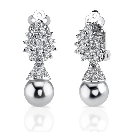 Gracious Elegance: Sterling Silver Art Deco Inspired Bridal Style Drop Earrings with Faux White ...