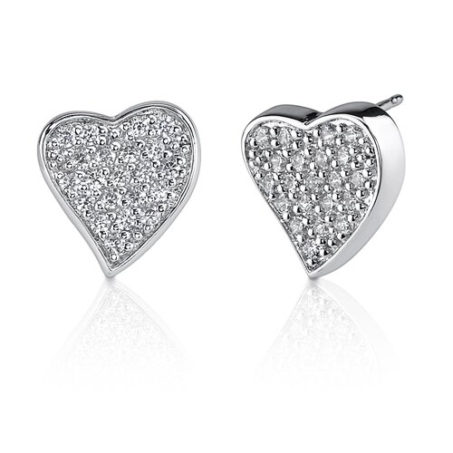 Sparkling Romance: Sterling Silver Bridal Style Heart Earrings with Pave Cubic Zirconia
