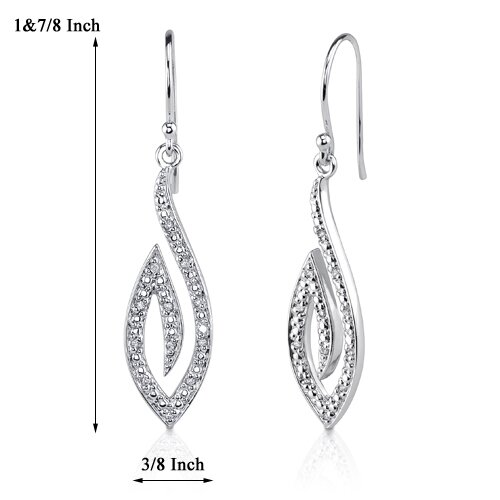 Oravo Chic Glamour: Sterling Silver Designer Inspired Teardrop Style Fish-hook Earrings with Cubic Zirconia