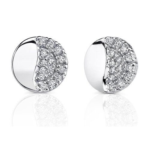 Oravo Petite Beauty: Sterling Silver Celebrity Style Disc Stud Earrings with Cubic Zirconia