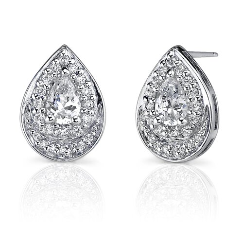 Sophisticated Brilliance: Sterling Silver Celebrity Style Teardrop Post Earrings with ...