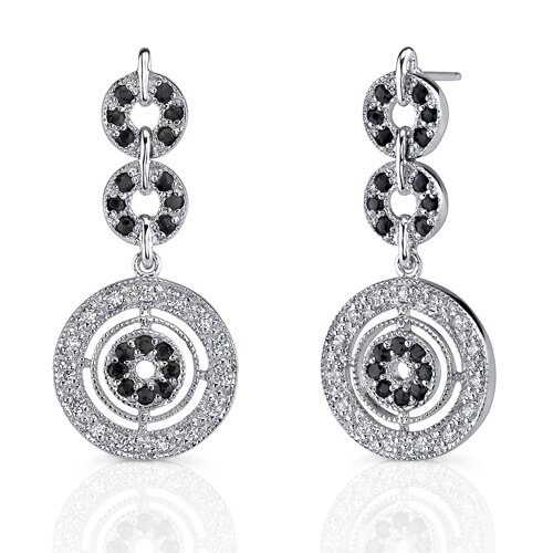 Ultra Elegant: Sterling Silver Celebrity Style Dangle post Earrings with Black Sapphire and ...