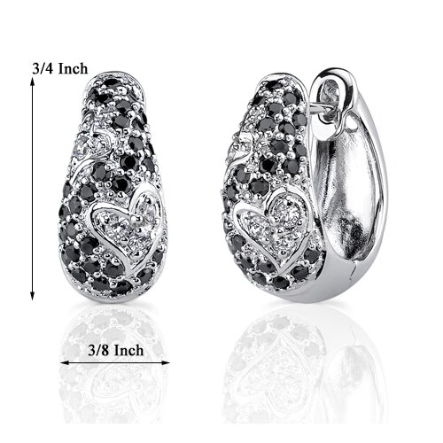 Oravo Romantic Radiance: Sterling Silver Couture Jewelry Hinged Post Earrings with Black Cubic Zirconia