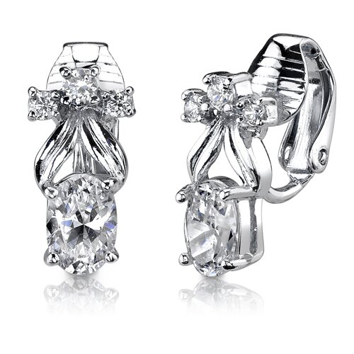 Oravo Sterling Silver Oval and Round Shape White Cubic Zirconia Clip On Earrings