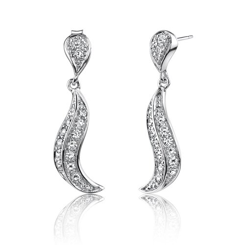 Oravo Sexy Grace: Sterling Silver Bridal Style Drop White Cubic Zirconia Earrings