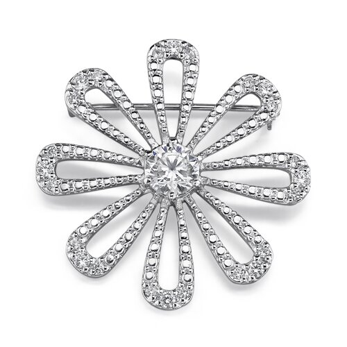 Oravo Dazzling Daisy: Sterling Silver Designer Inspired Vintage Style Daisy Brooch with Cubic Zirconia