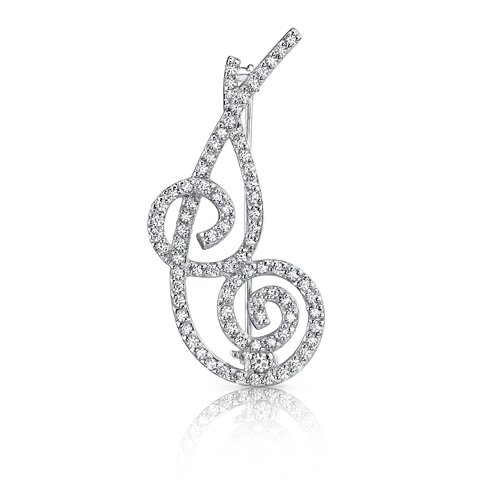 Ultimate Beauty: Sterling Silver White Cubic Zirconia Ribbon Brooch