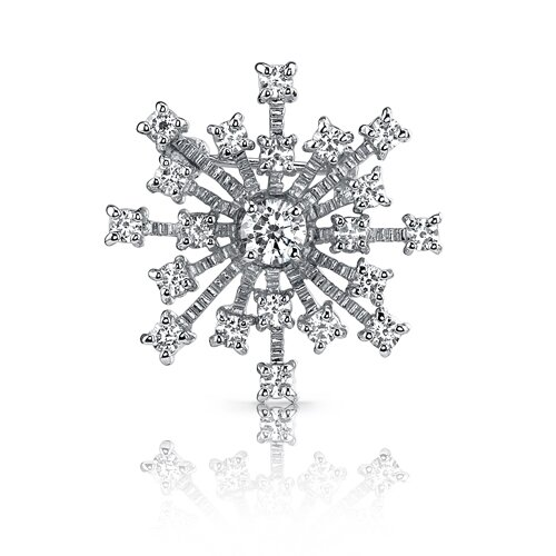 Enchanted Style: Sterling Silver Tiffany Inspired Snowflake White Cubic Zirconia Brooch