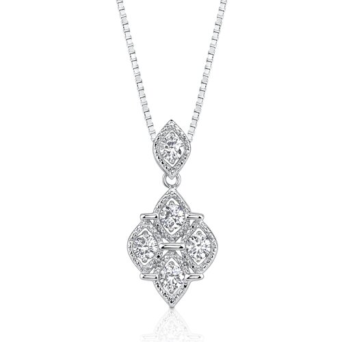 Oravo Perfect Glamour: Sterling Silver Celebrity Style Quatrefoil Dangle Pendant Necklace with 5mm Round Cubic Zirconia