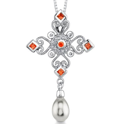 Delicate and Glamorous: Sterling Silver Vintage Style Chandelier pendant with a teardrop White ...