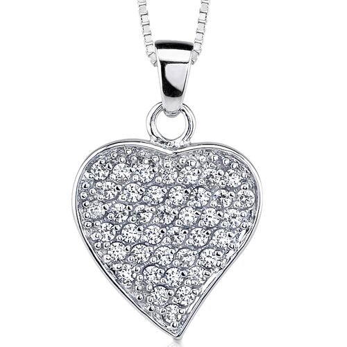 Sparkling Love: Sterling Silver Pave Diamond Dangle Heart Pendant Necklace