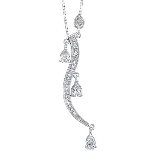 Starlet Radiance: Sterling Silver Designer Inspired Dangle Style Pendant Necklace with Pear ...